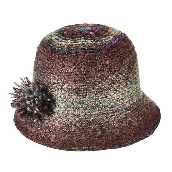 San Diego Hat Company: Women's knit cloche with yarn pom trim