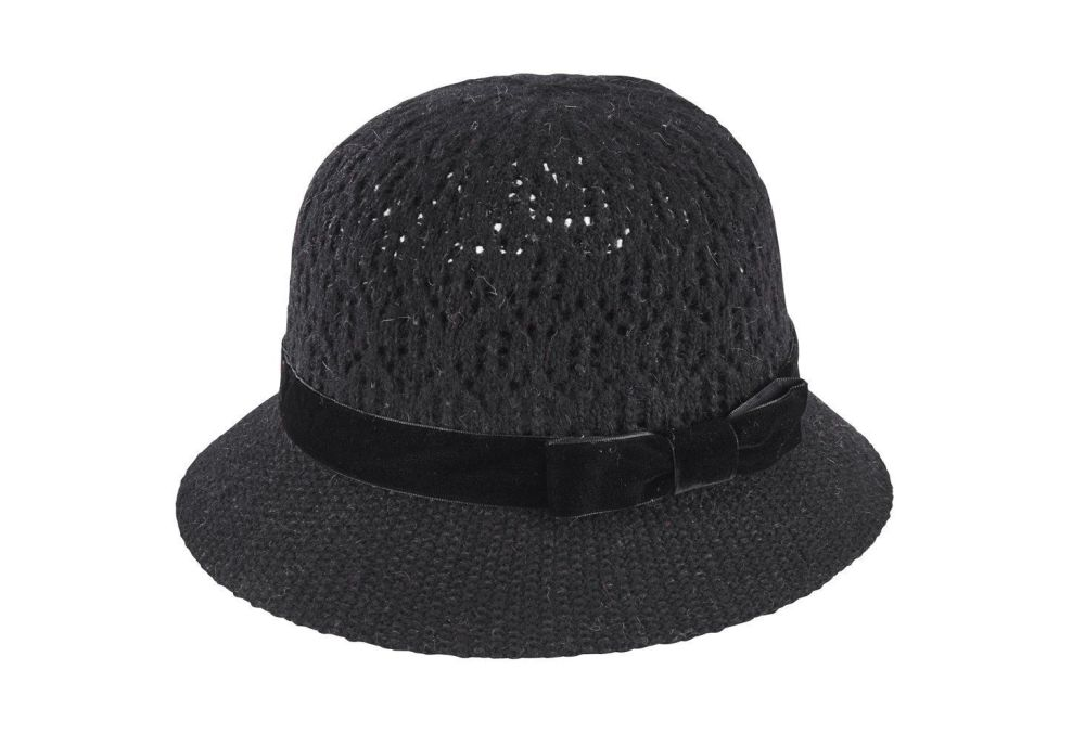 San Diego Hat Company: Women's knitted pointelle cloche with velvet bow tri
