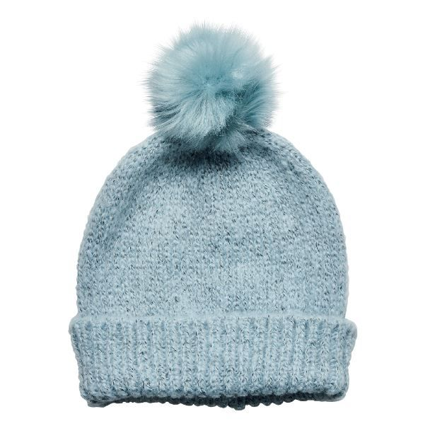 San Diego Hat Company: Women's solid knit cuffed beanie with faux fur pom