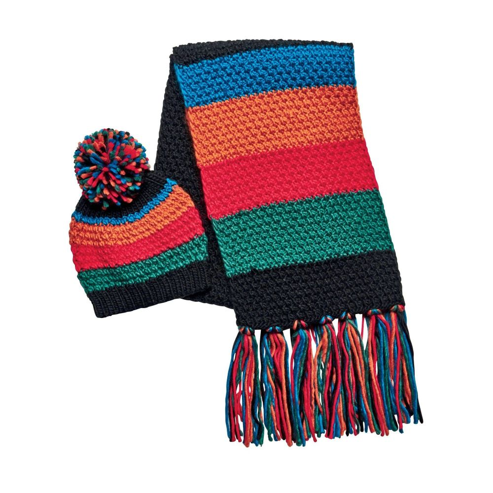 Women's multi color scarf with multi color fringe set