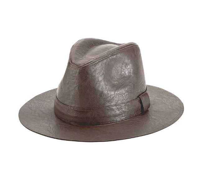 San Diego HC : FAUX LEATHER FEDORA WITH SELF BAND