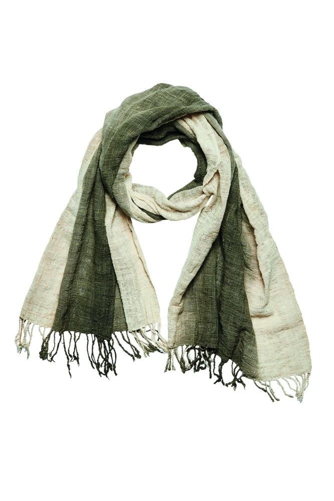Women's hand-woven, ombre plant dyed cotton scarf