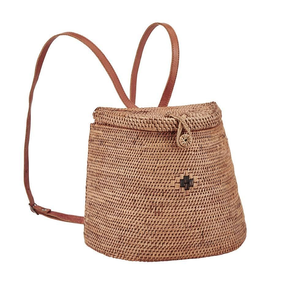 Women's handwoven ata reed basket backpack with batik lining and leather straps