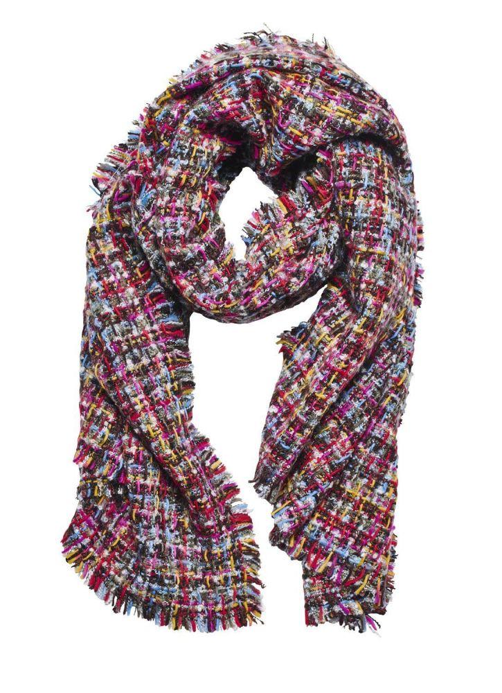 Women's knit multi check scarf