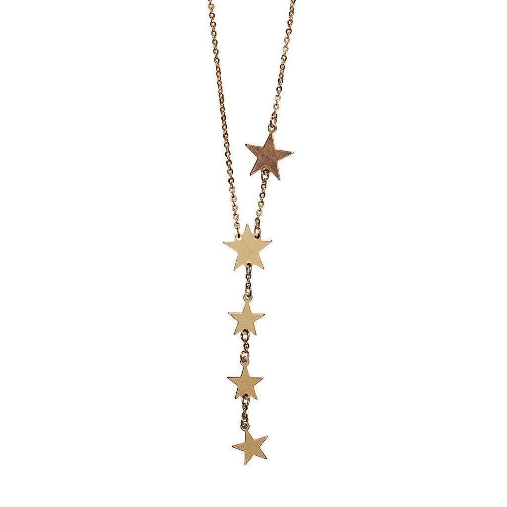 Women's dainty lariat chain with stars
