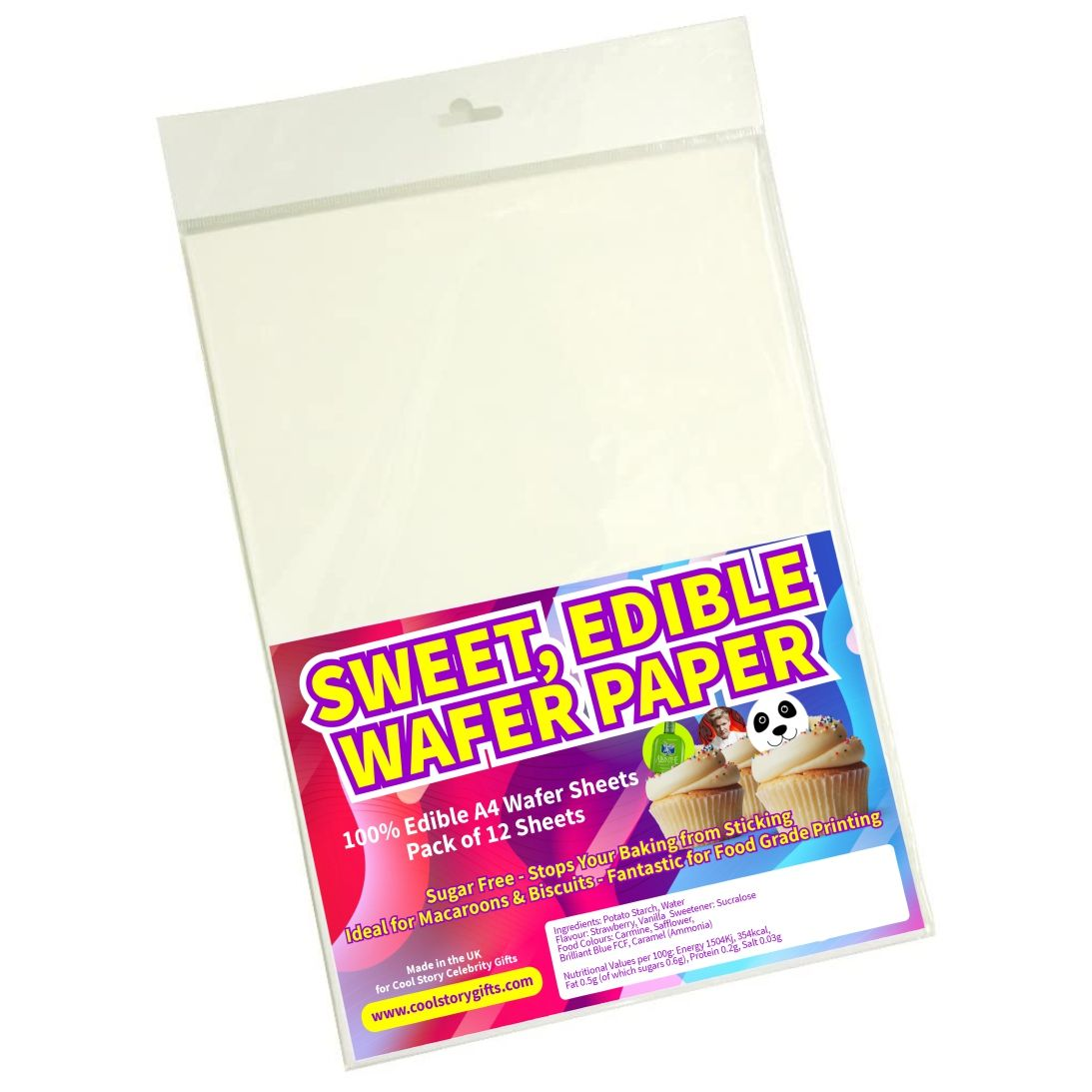 Edible Wafer Sheets: 12 A4 Sheets. White. Suitable for Children
