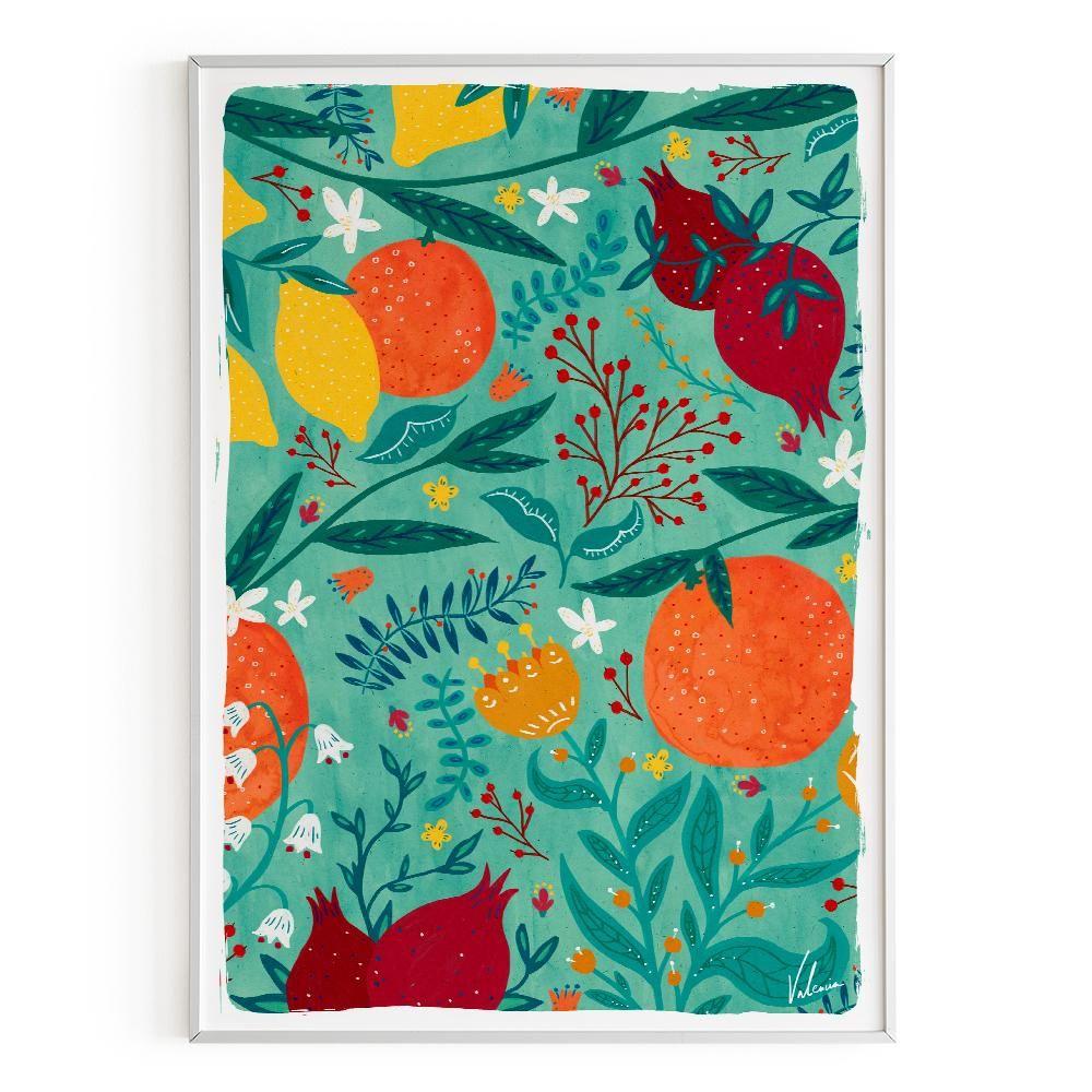 La Postalera: Flowers and oranges Poster -  A4 size
