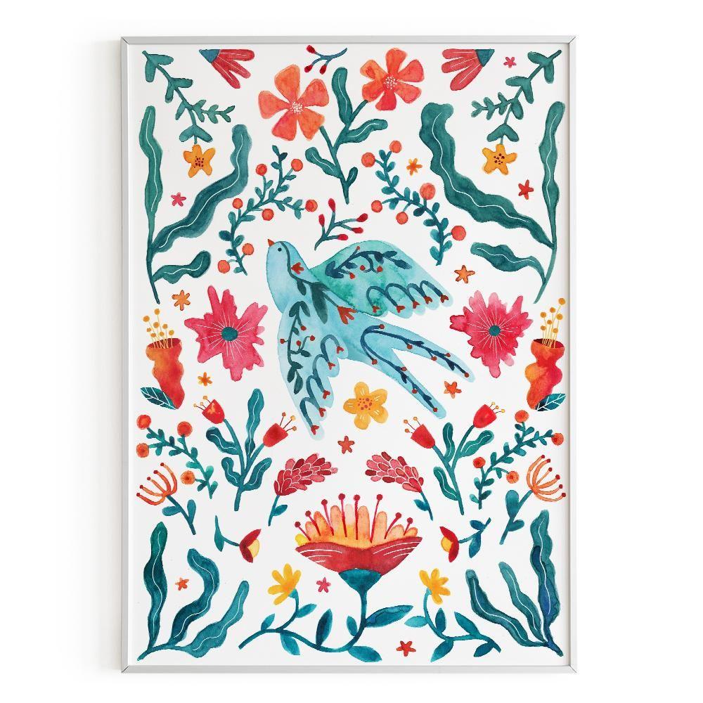 La Postalera : Art Poster.  Swallow with flowers Poster