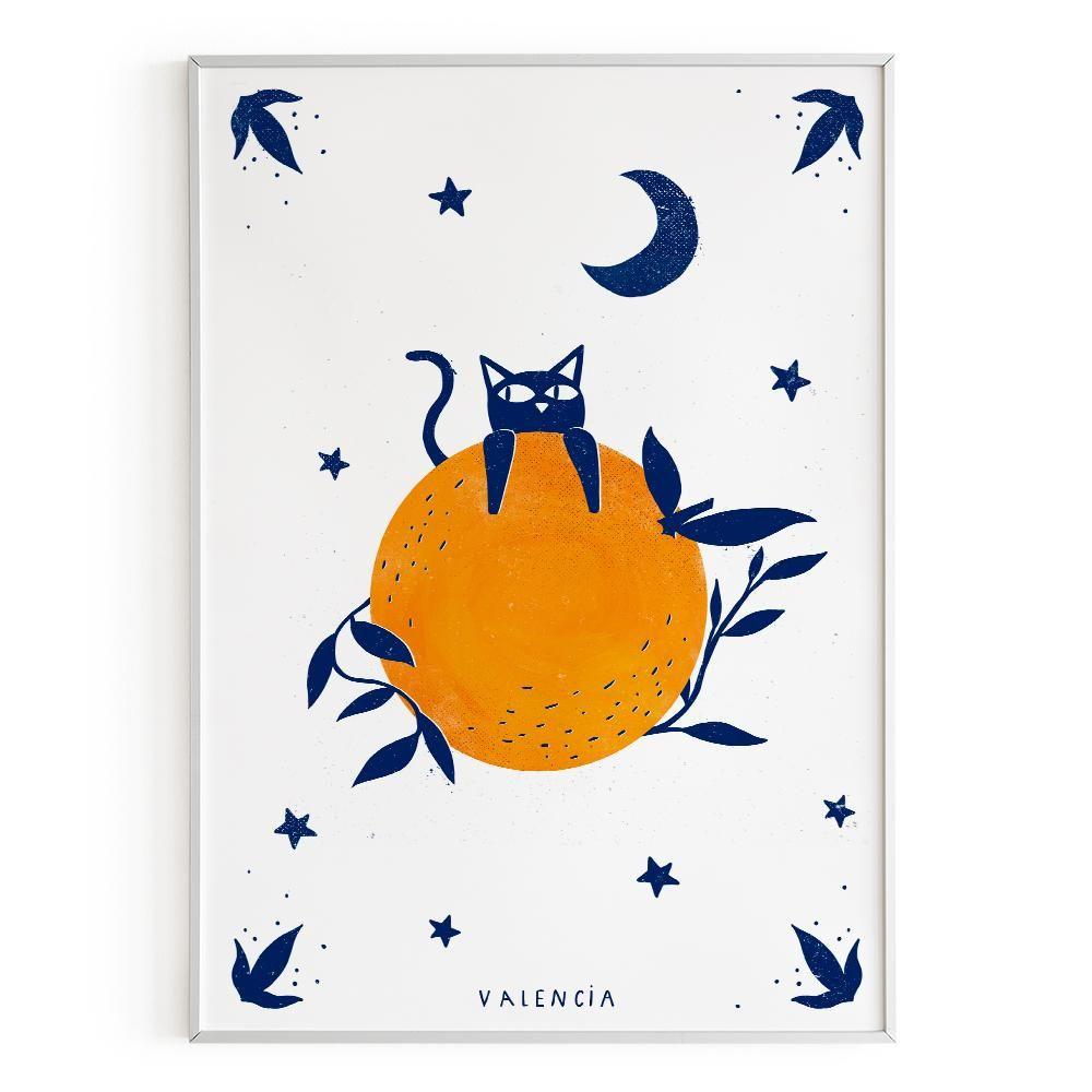La Postalera: Cat with Orange Poster -  A4 size