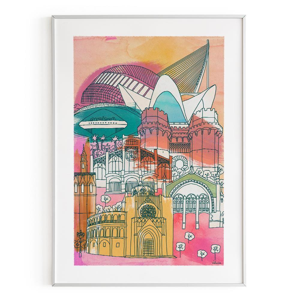 La Postalera:  Architecture & cityscape Poster - Valencia monuments lines and spots -  A4 size