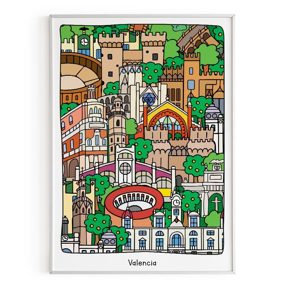 La Postalera:  Architecture & cityscape Poster - Valencia monuments lines and colours -  A4 size