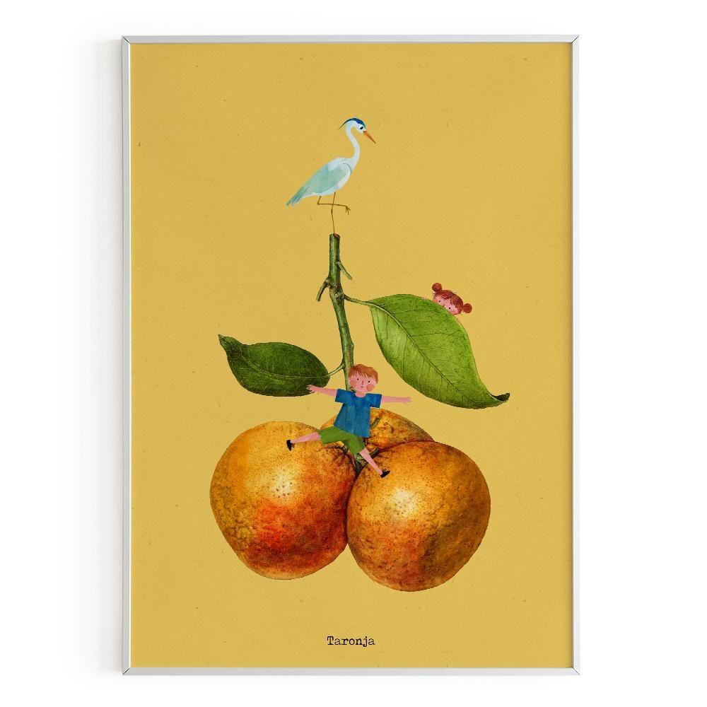 La Postalera: Children with oranges Poster -  A4 size