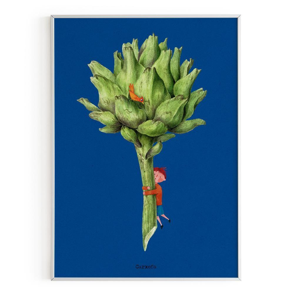 La Postalera: Children with artichoke Poster -  A4 size