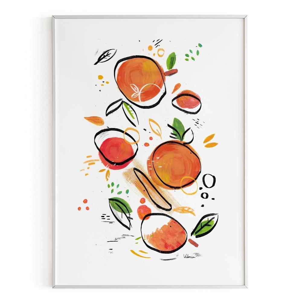 La Postalera: Abstract Oranges Poster -  A4 size