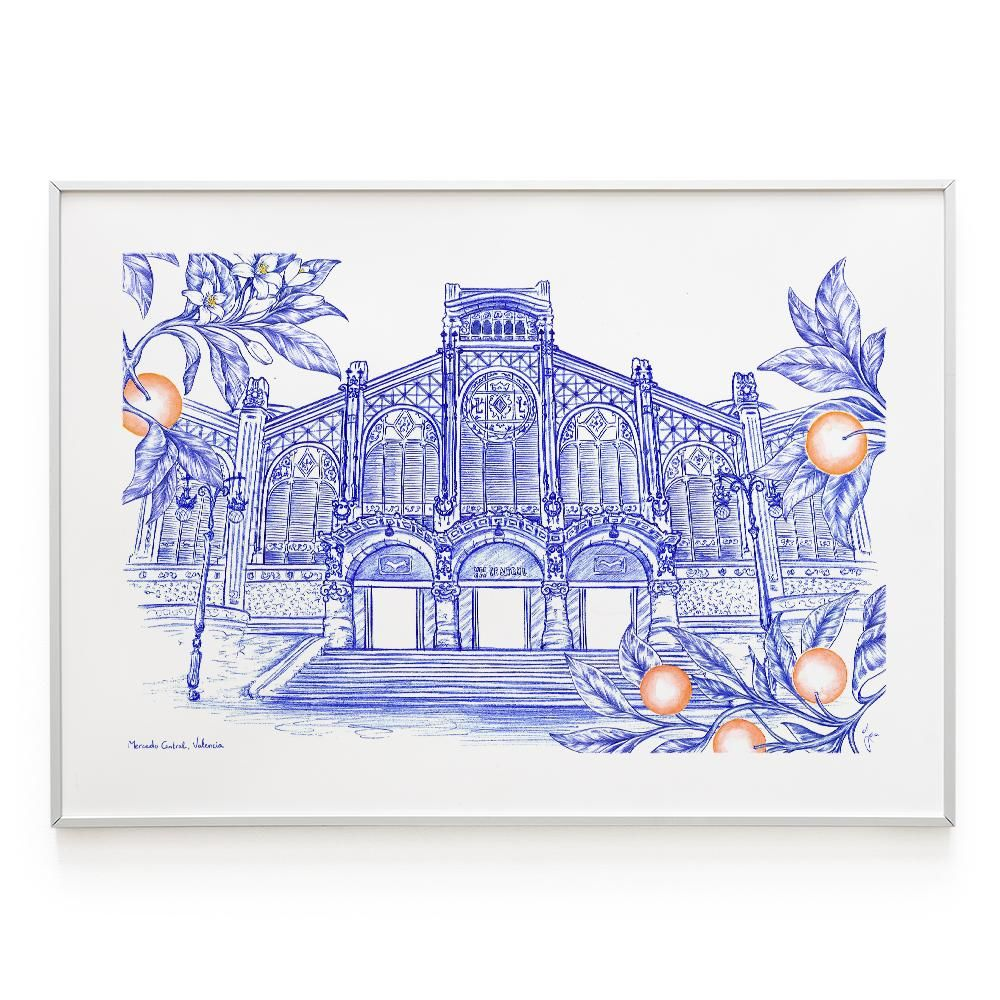 La Postalera: North Station Poster made with BIC pen -  A4 size
