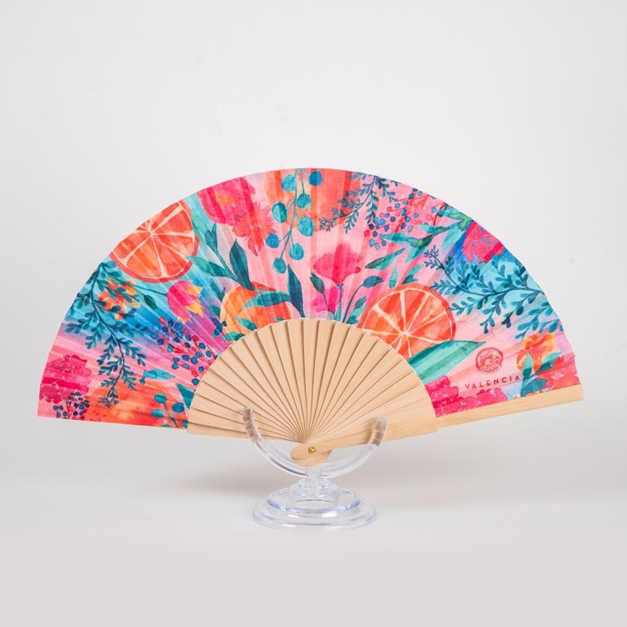 La Postalera: Hand Fan Flowers and Oranges