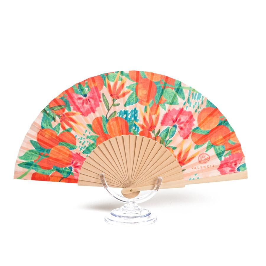 La Postalera: Hand Fan with orange design