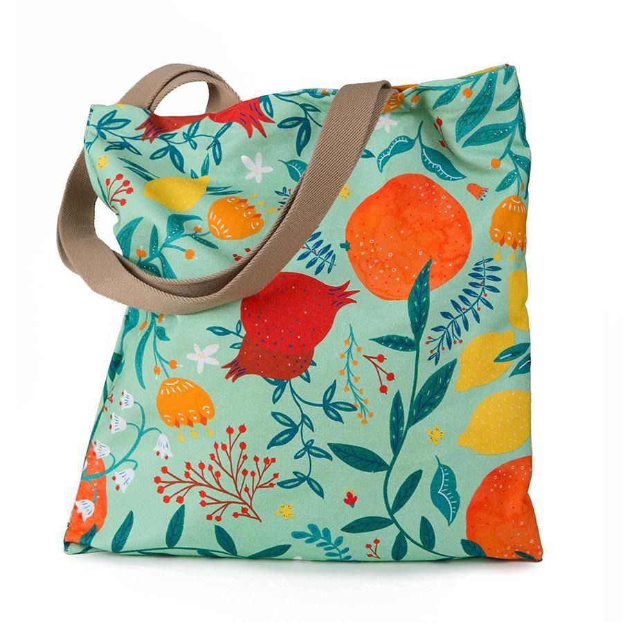 La Postalera: Full Printed Tote Bag with fruit and flower design