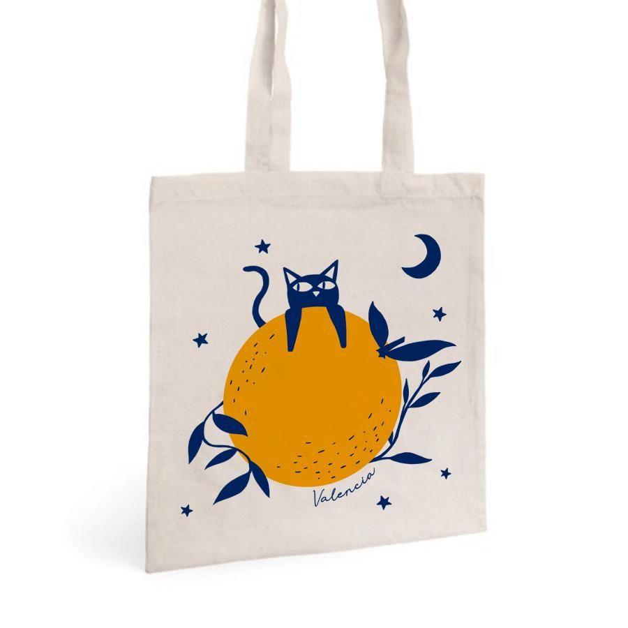 La Postalera: Tote Bag with Cat and orange design