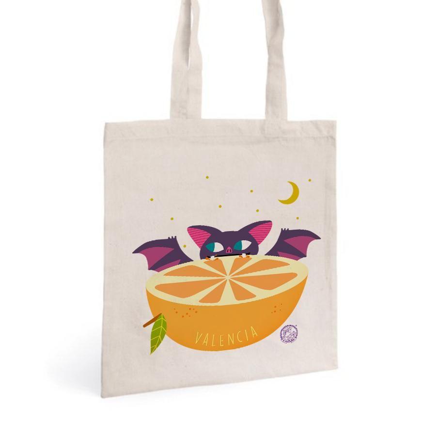 La Postalera: Tote Bag with Bat and Valencia orange
