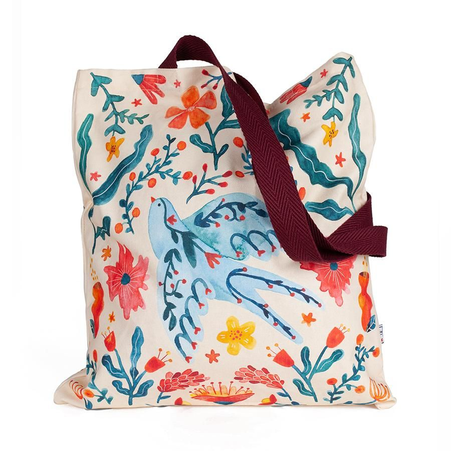 La Postalera: Full Printed Tote Bag with swallow and flowers design