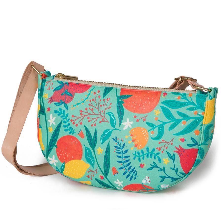 La Postalera: Half Moon Handbag Flowers and Oranges design