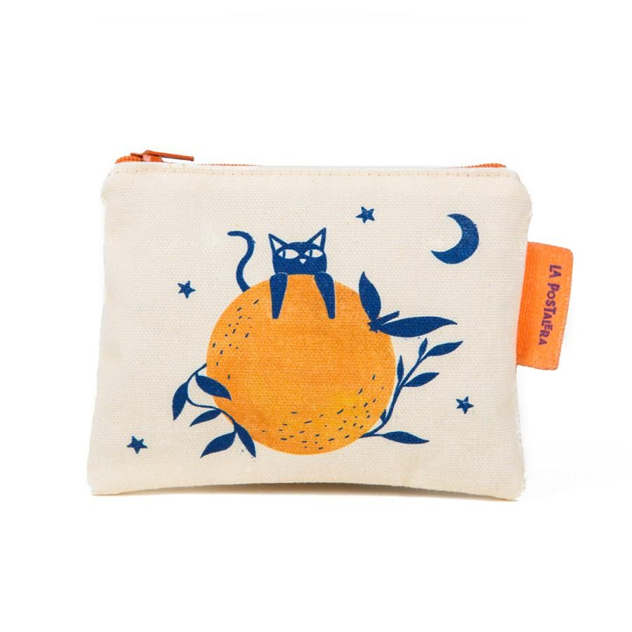 La Postalera: Printed Purse - Cat and Orange