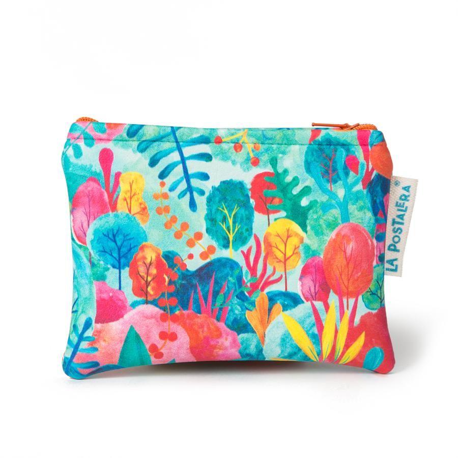 La Postalera: Eco-leather purse with colorful forest design