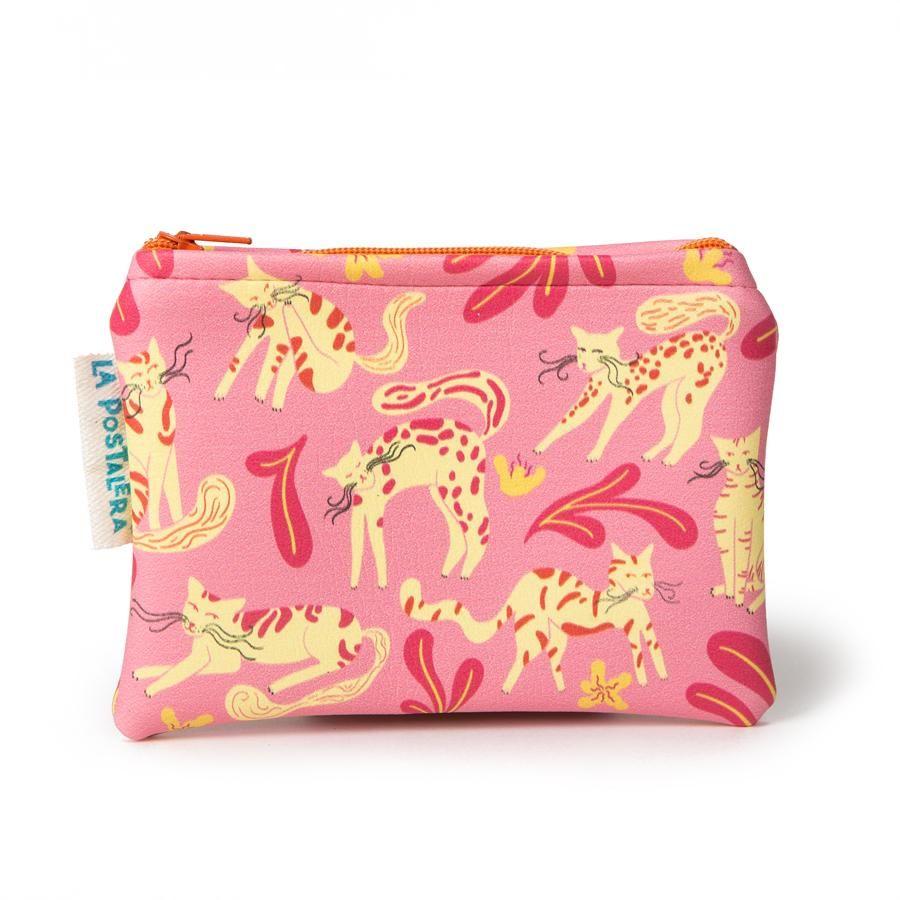 La Postalera: Eco-leather purse - Pink Cats