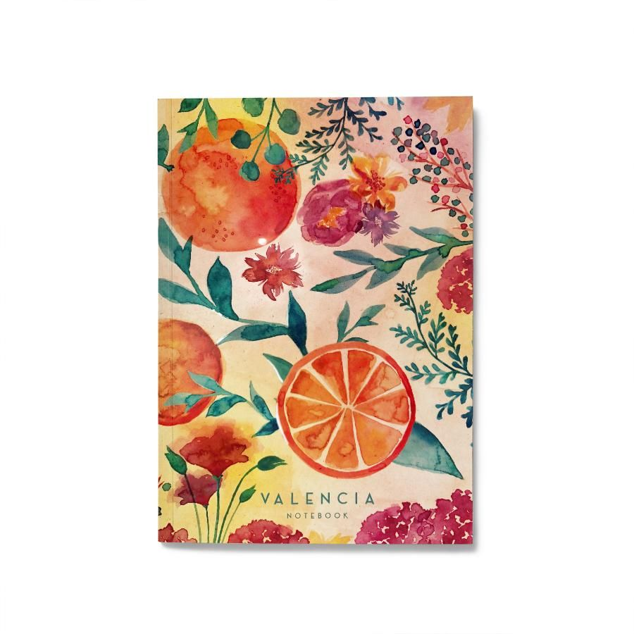La Postalera: Notebook with Oranges and Bright Flowers