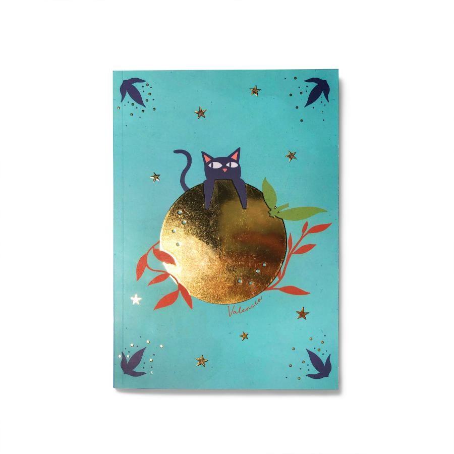 La Postalera: Notebook with Cat and Gold Orange details