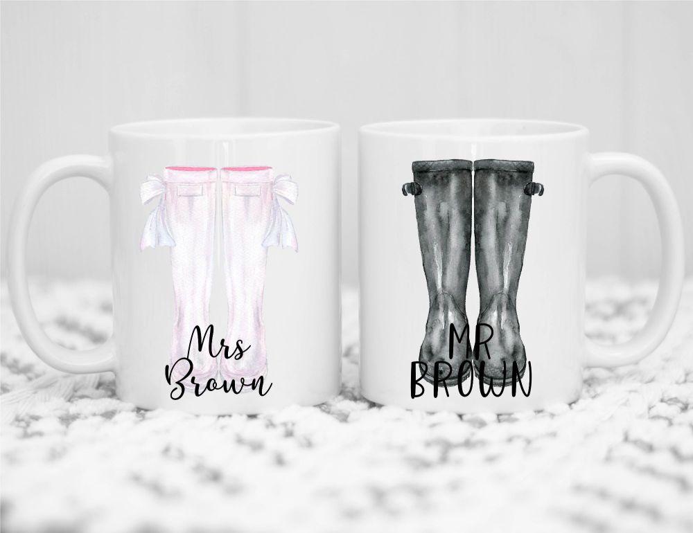 Personalised Wellie Mug Set