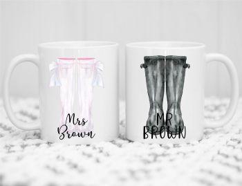 Wellie Couple Mug Set