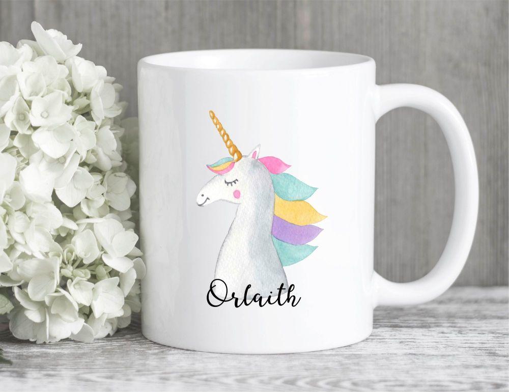 Personalised Watercolour Unicorn Mug