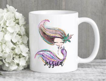 Brown Haired Mermaid Mug