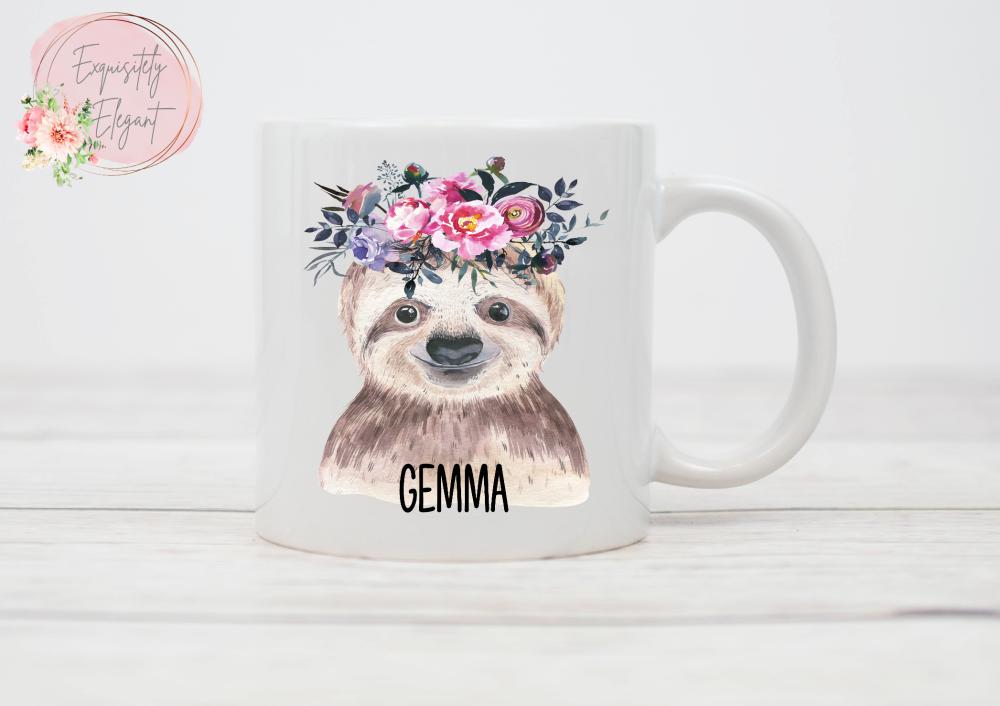 Floral Sloth Mug