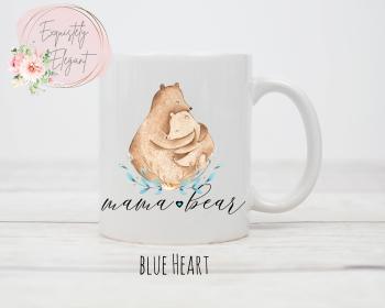 Mama Bear Mug with Blue Heart