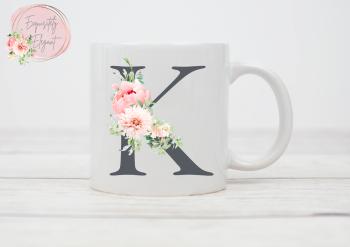 Floral Grey Initial Mug
