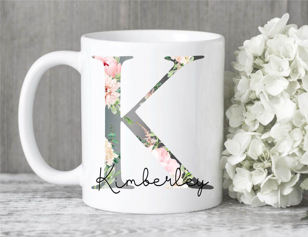 Initial Floral Mug