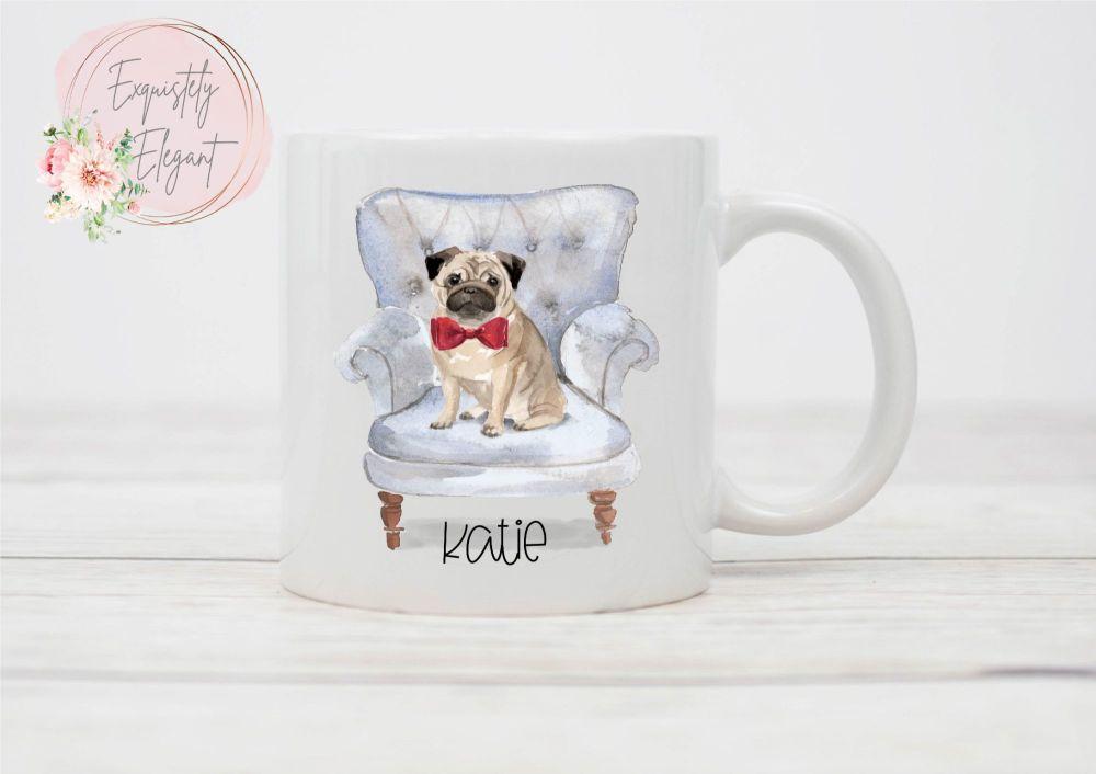 Pug on Chair Mug