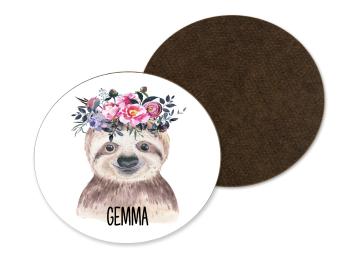 Floral Sloth Coaster