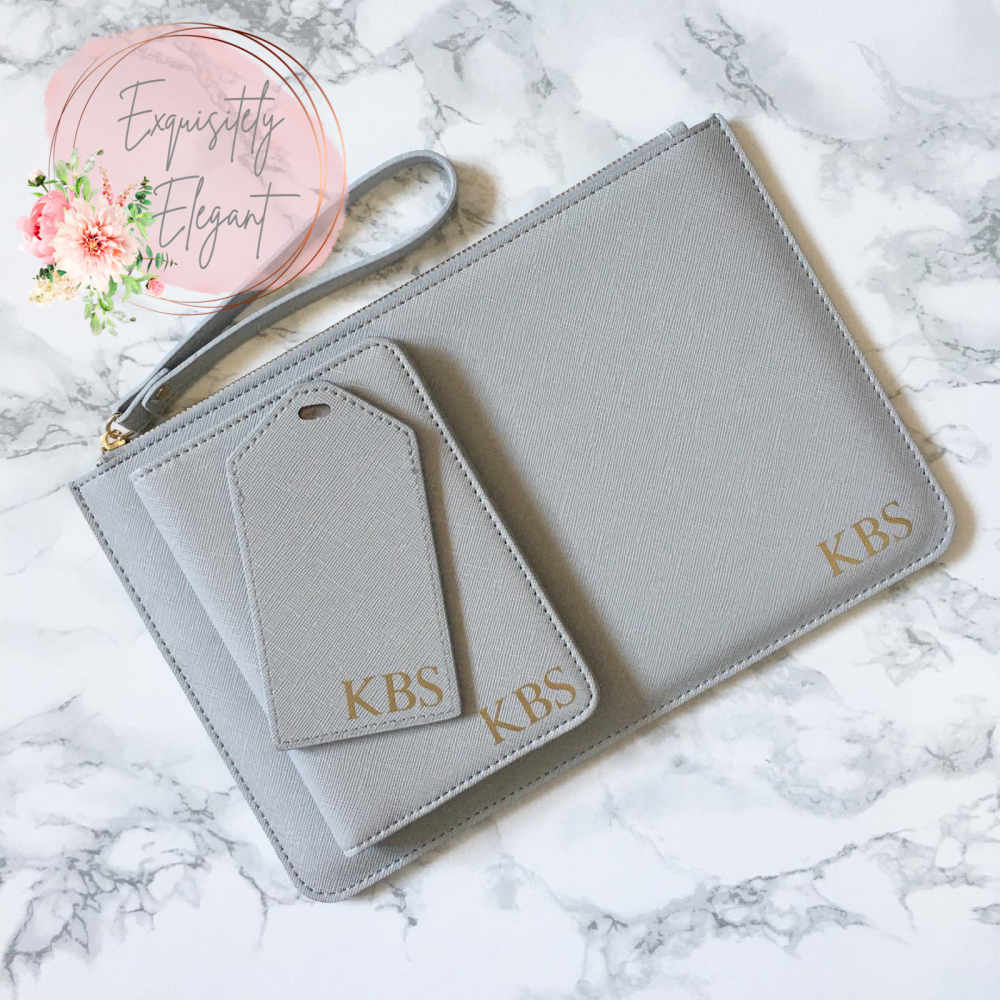 Personalised Matching Initial Clutch Bag & Travel Set