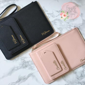 Matching Name Clutch Bag & Travel Set