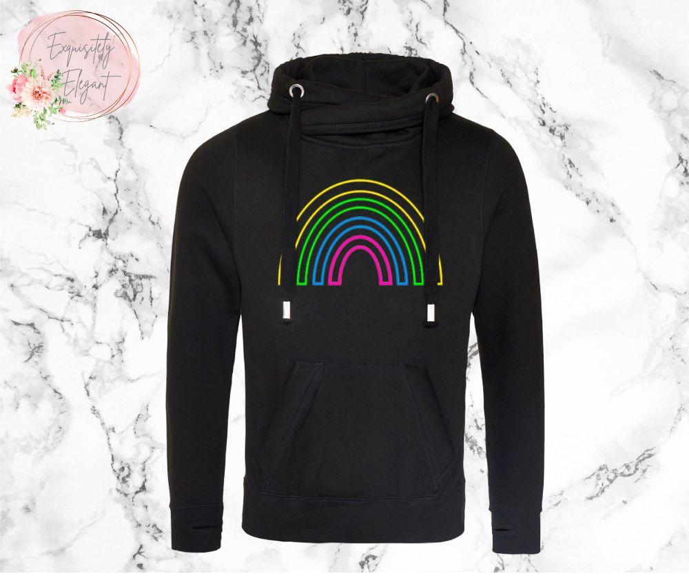 Neon Rainbow Crossneck Hoodie