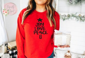Joy Love Peace Christmas Tree Sweatshirt