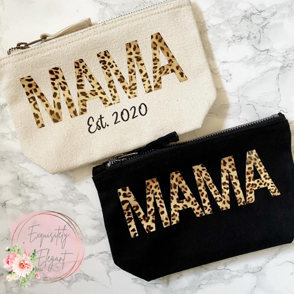 Mama Leopard Print Makeup Bag