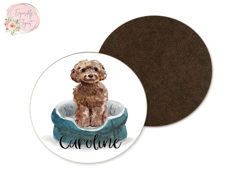 Cockapoo Dog Coaster -  Brown