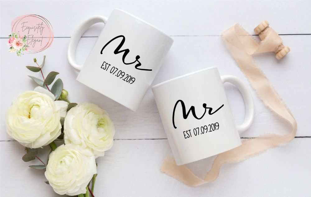 Wedding Mug Set Mr & Mrs