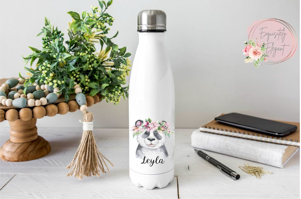 Floral Panda Double Wall Bottle