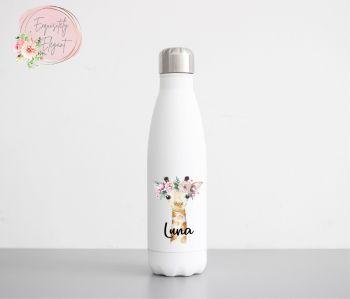 Floral Giraffe Double Wall Bottle